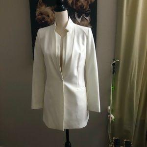 Zara white long double collar blazer